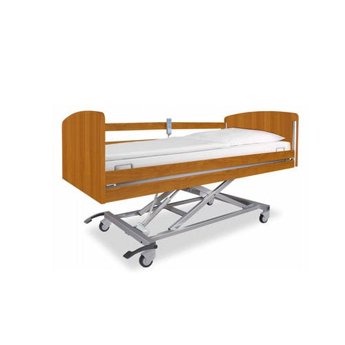 nursing home bed / electric / height-adjustable / with locking wheels