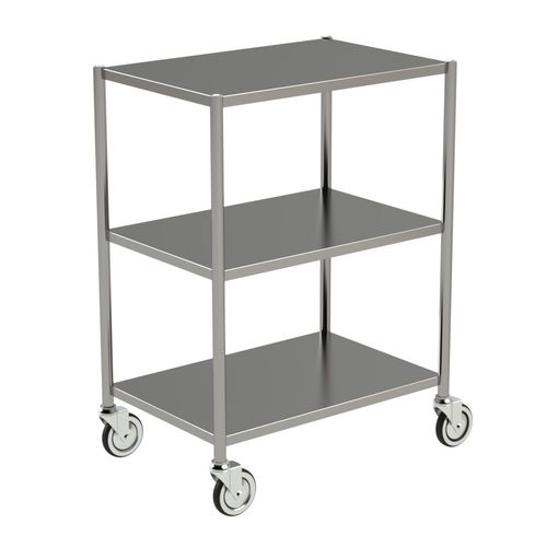 storage trolley / for general purpose / 3-tray / stainless steel