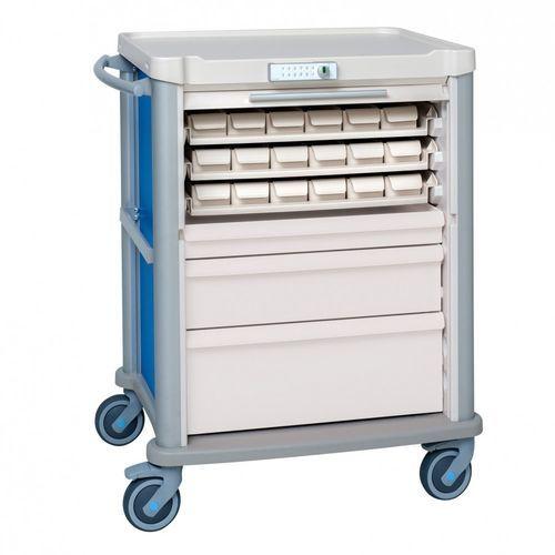 medicine distribution cart / medication / with drawer / height-adjustable
