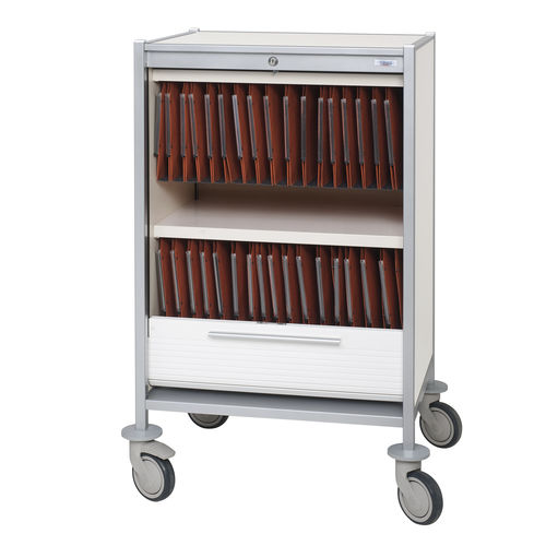 transport trolley / medical records / with tray / horizontal-access