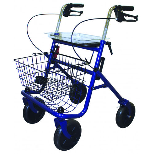 4-caster rollator / height-adjustable / with basket