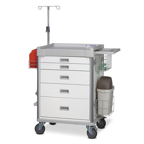 treatment trolley / multi-function / 5-drawer / with IV pole