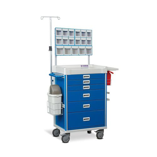 anesthesia trolley / for medicine / 6-drawer / with IV pole