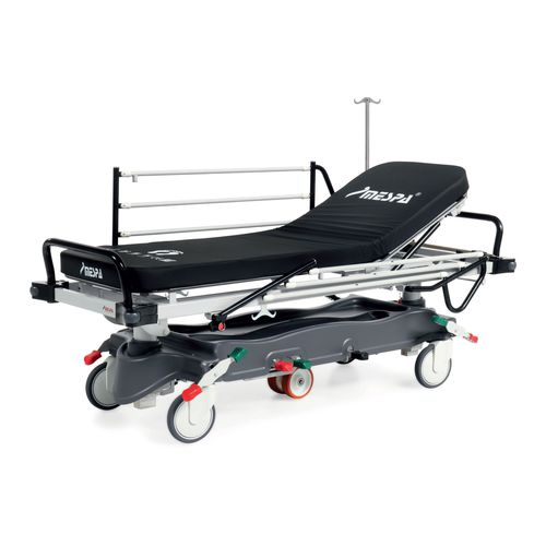 transport stretcher trolley / emergency / hydraulic / with adjustable backrest