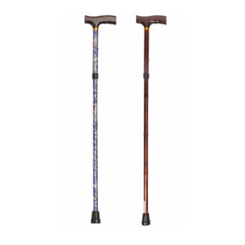 T-handle walking stick / folding / height-adjustable