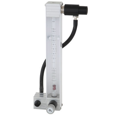 oxygen flow meter / air / variable-area / rail-mounted