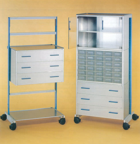 hospital cabinet / with shelf / with drawer / on casters