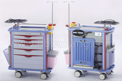 emergency trolley / for general purpose / with waste bin / with oxygen cylinder holder