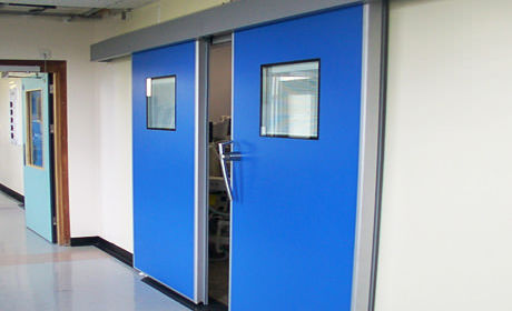 sliding door / for surgery units / double-leaf / fire-rated
