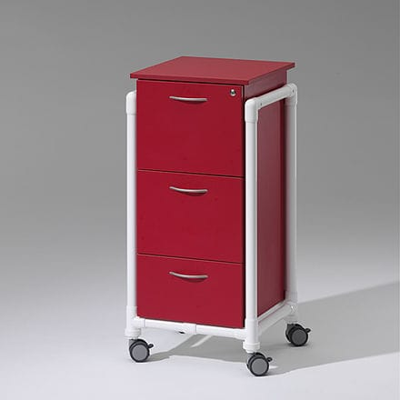 storage cart / medical records / 3-drawer / medical