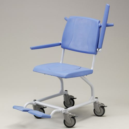 shower chair / on casters / with armrests