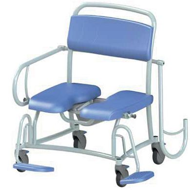 shower chair / with cutout seat / on casters / with armrests