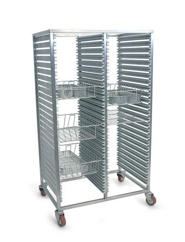 transport trolley / for sterilization baskets / with shelf / open-structure