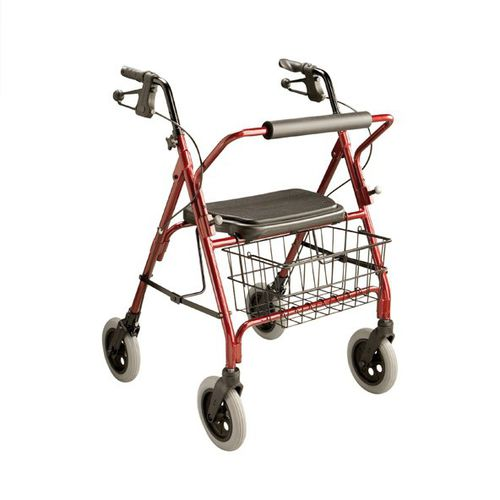 4-caster rollator / with seat / with basket / bariatric