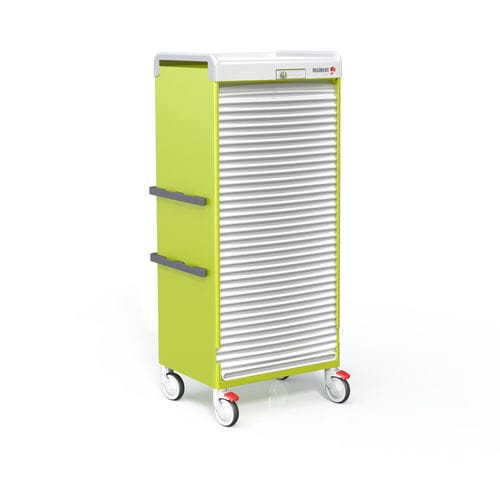 hospital cabinet / with tambour door / with electronic lock / on casters