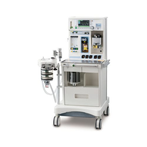 trolley-mounted anesthesia workstation / with respiratory monitoring