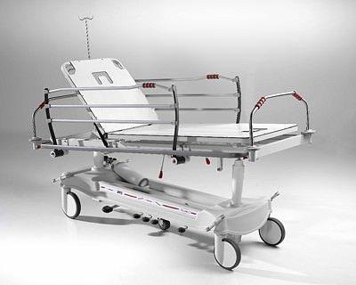 emergency stretcher trolley / with adjustable backrest