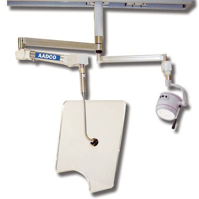 X-ray radiation shielding screen / ceiling-mounted / with surgical lamp
