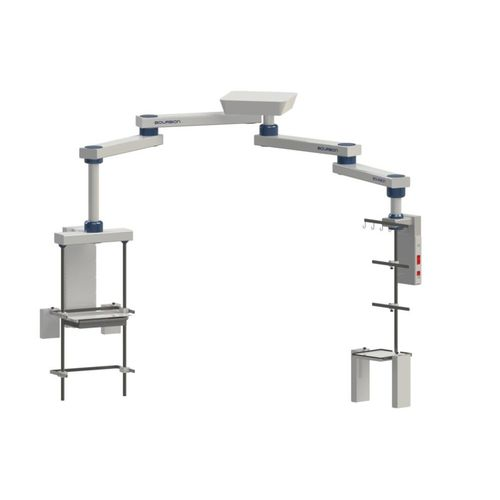 double medical pendant / ceiling-mounted / articulated / with column
