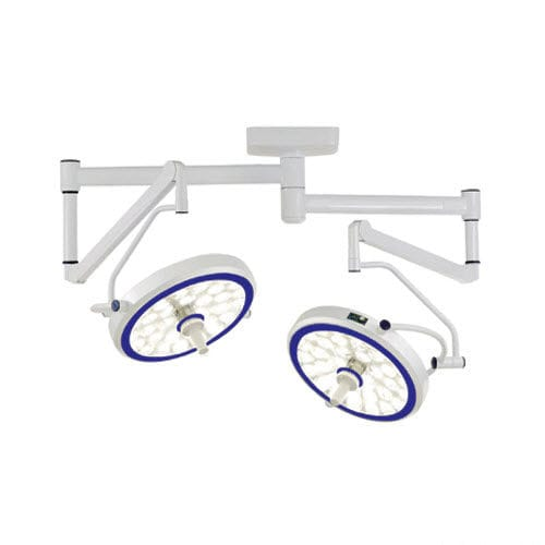 ceiling-mounted surgical light / LED / with video camera / 2-arm