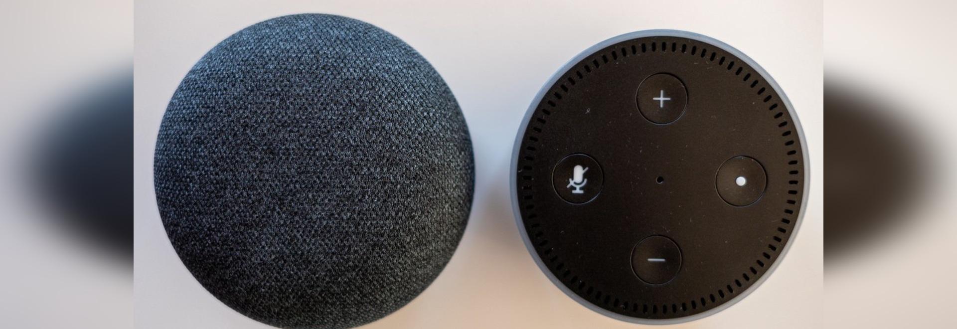 Amazon Echo Dot and Google Home Mini