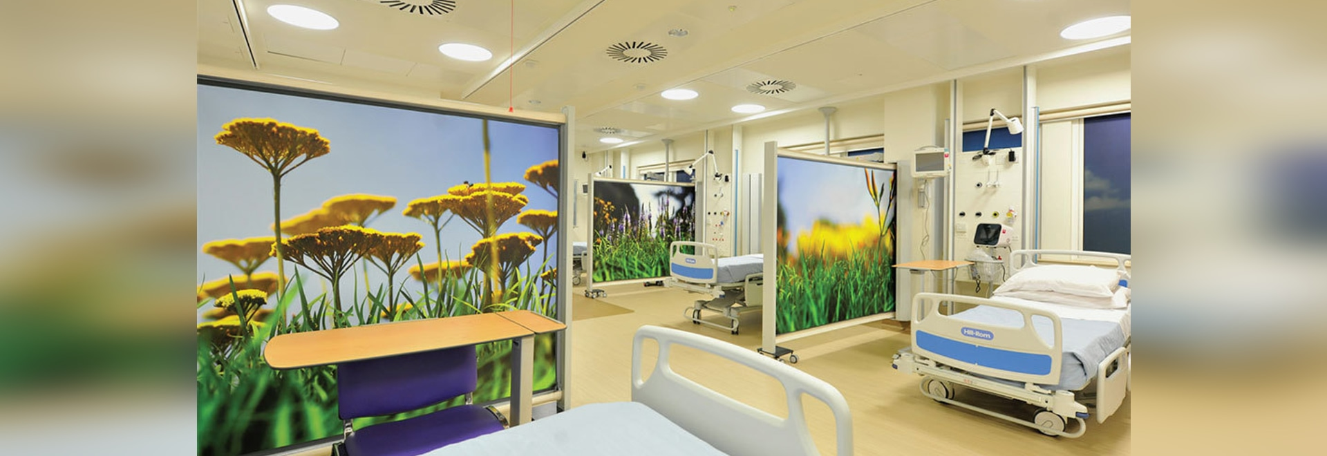 Hospital privacy screens on wheels KwickScreens at hospital ward in The National Hospital for Neurology and Neurosurgery, London.