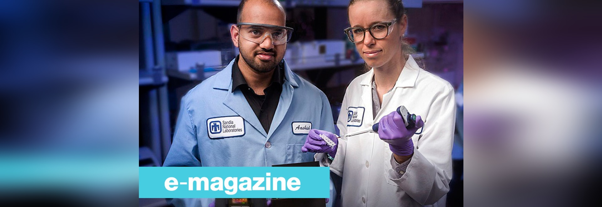 Sandia National Laboratories chemical engineer and lead paper author Aashish Priye offers a view into the Zika box prototype, along with co-authors Sara Bird, a virologist, center, and Cameron Ball...