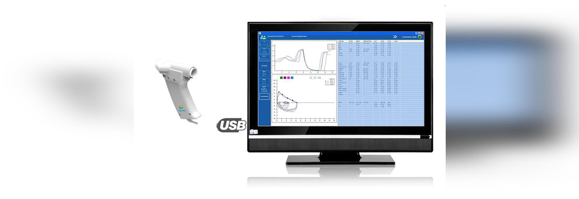 Ultrasonic Hand-held Spirometer Computer Based