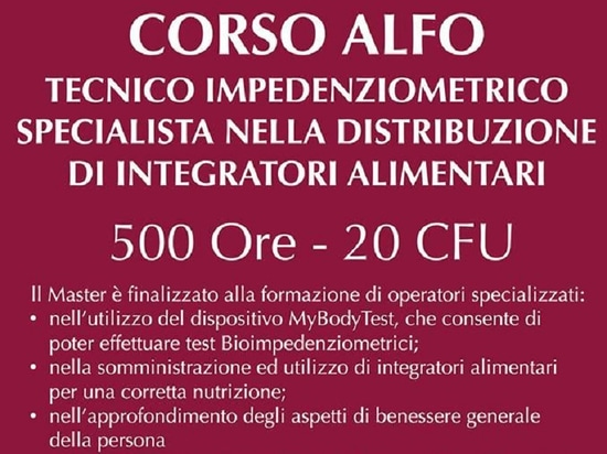 Professional course: Expert Technician in Bioelectrical Impedance Analysis and Specialist in the Distribution of Dietary Supplements