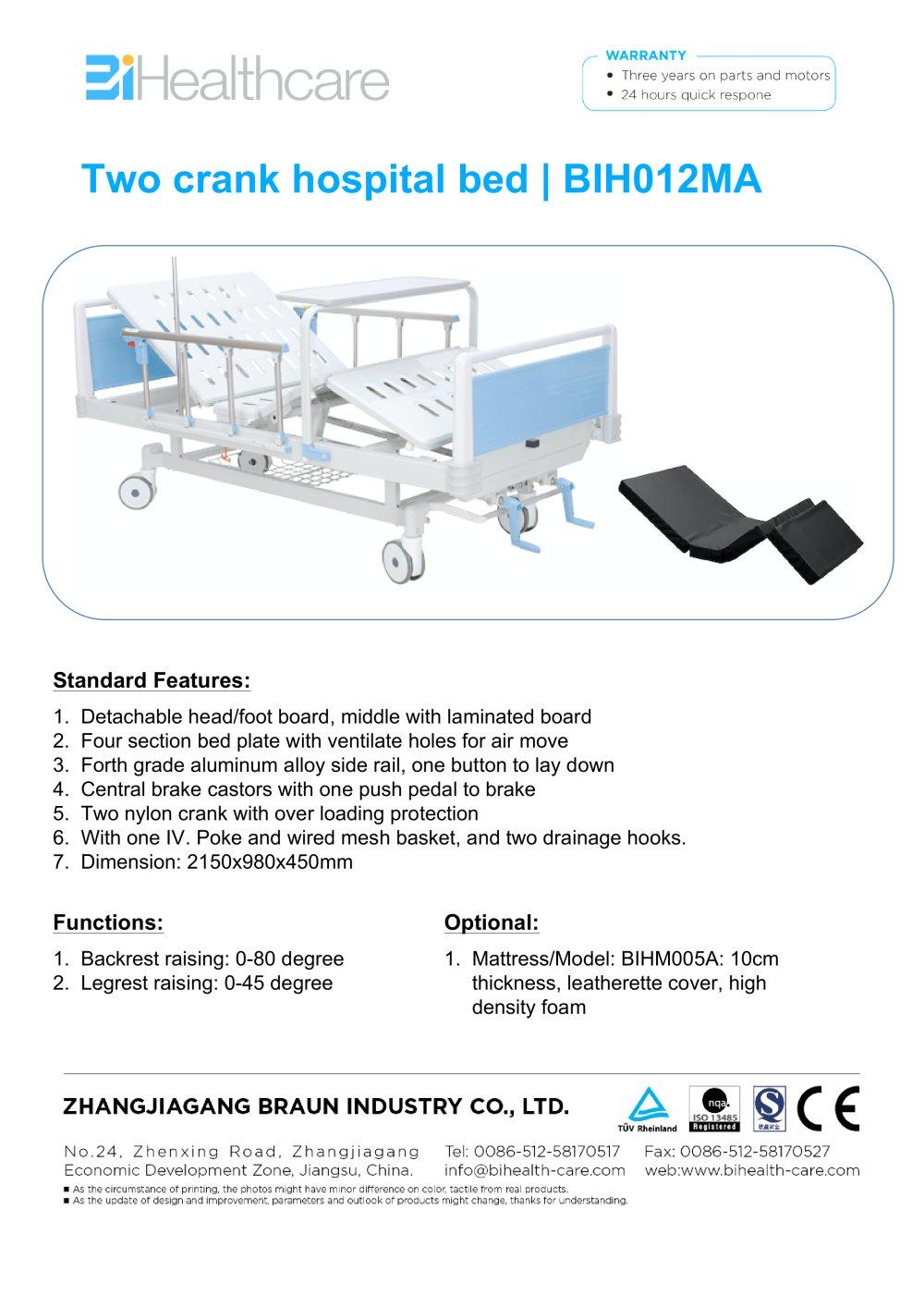 brochure hospital bed bih012ma bihealthcare bihealthcare pdf rh pdf medicalexpo com