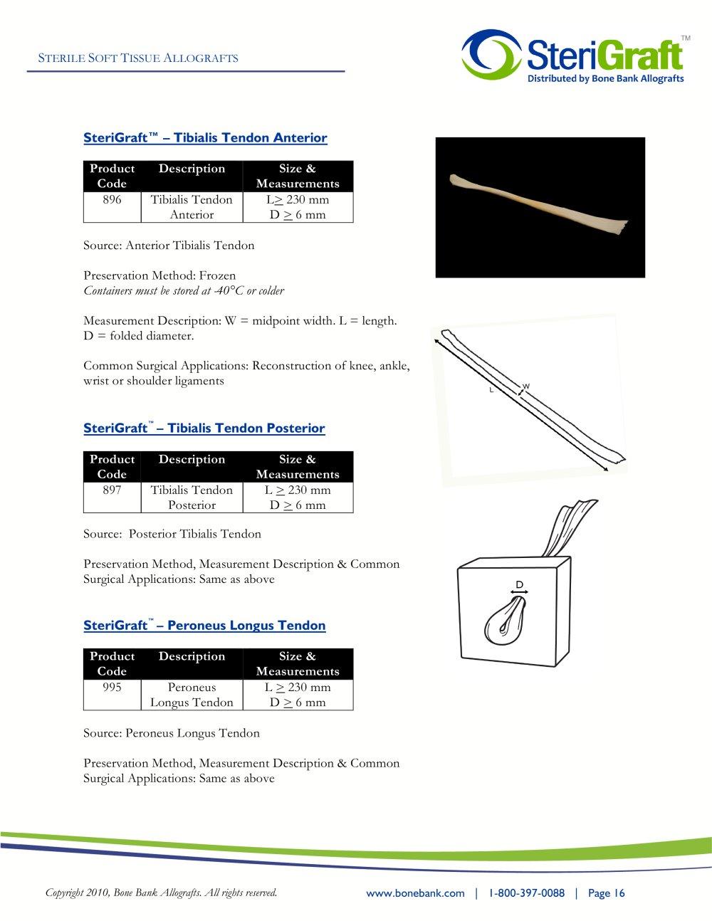 Sterigraft Tibialis Tendon Anterior Bone Bank Allografts Pdf