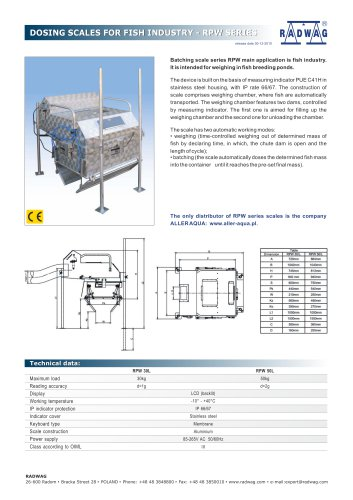 DOSING SCALES FOR FISH INDUSTRY - RPW SERIES
