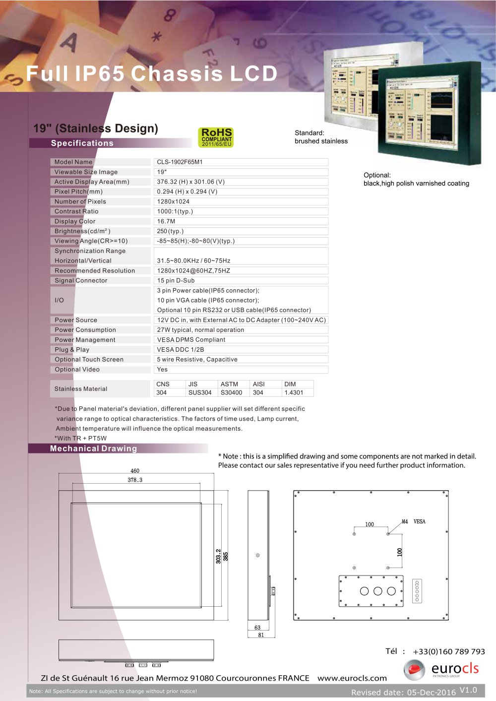 Full Ip65 Chassis Lcd Euro Cls Pdf Catalogue Technical Dc 12v 3 Pin Plug Wiring Diagram 1 2 Pages