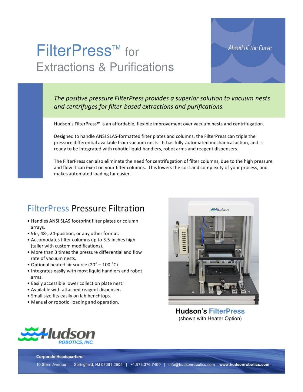 Filterpress For Extractions Purifications Hudson Robotics Pdf