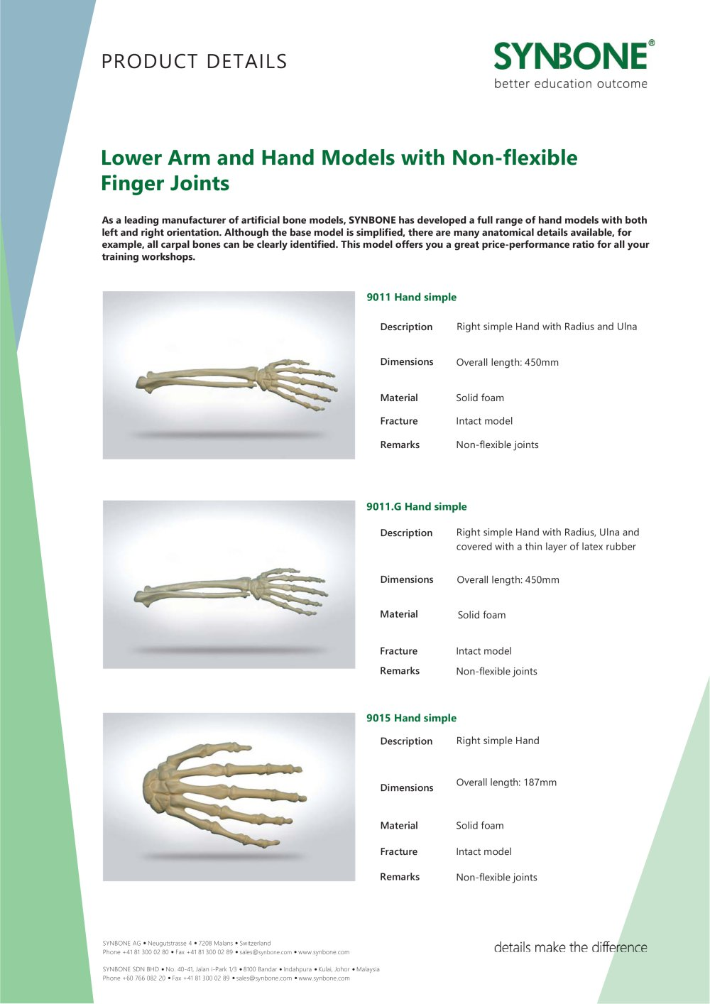 Lower Arm And Hand Models With Inflexible Finger Joints Synbone Ag