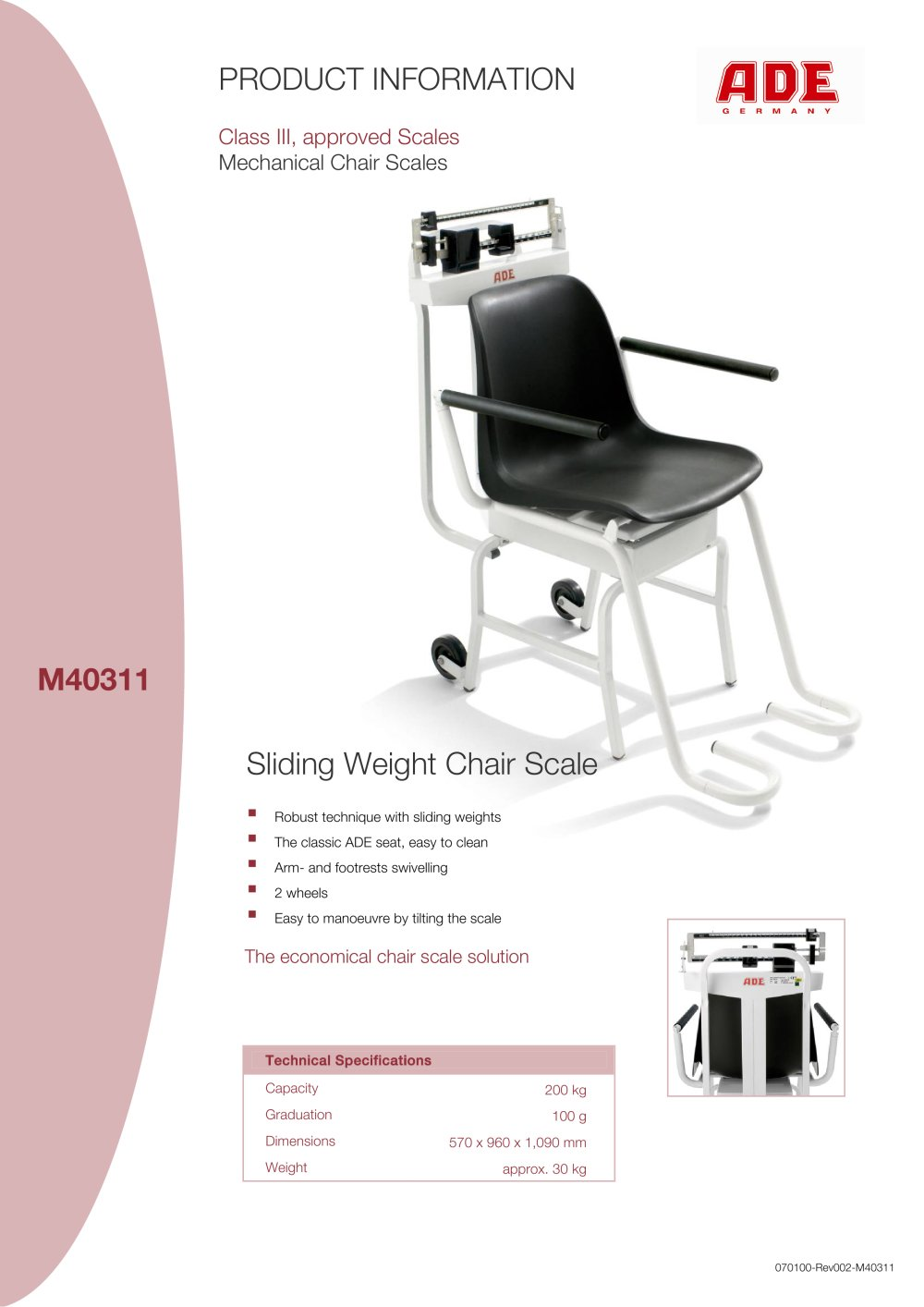 Sliding weight chair scale M40311 - M302000-01 - 1 / 1 Pages  sc 1 st  Catalogues Medicalexpo & Sliding weight chair scale M40311 - M302000-01 - ADE - PDF Catalogue ...