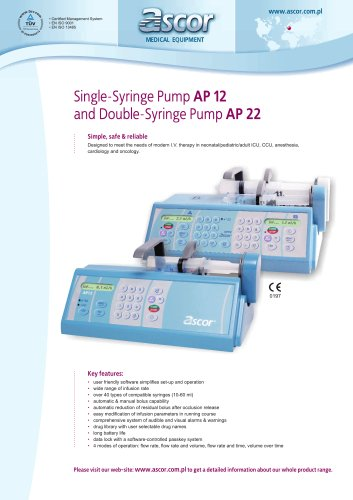 Syringe pumps Ascor AP12/AP22 - EN