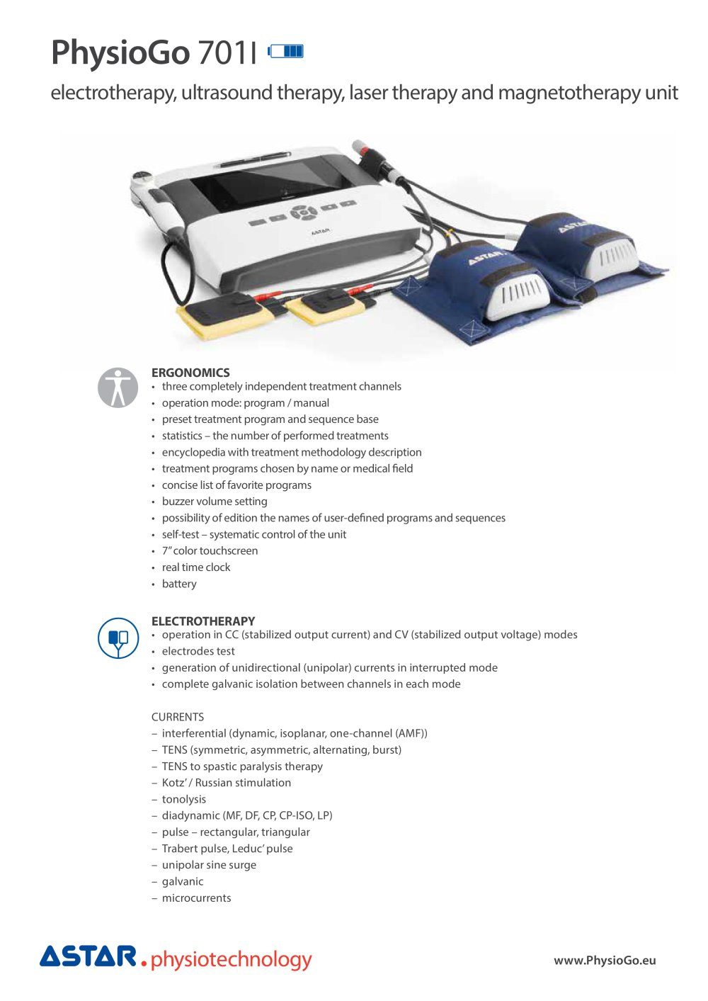 physiogo i product card astar pdf catalogue technical physiogo 701i product card 1 4 pages