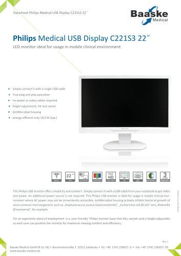 Philips Medical USB Display C221S3 22''