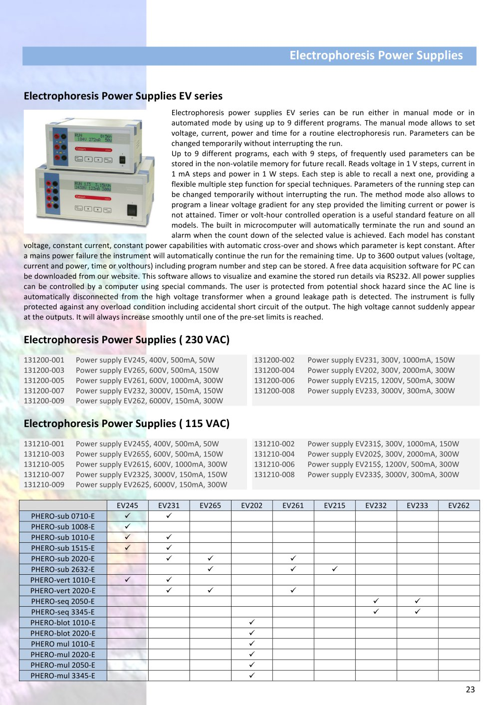 Electrophoresis Power Supplies Biotec Fischer Pdf Catalogue High Voltage Supply 3000v 1 Pages