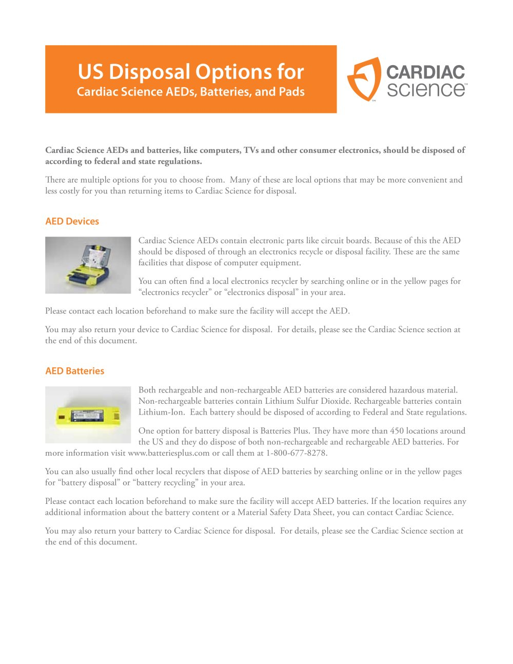 Aed Disposal Options Cardiac Science Pdf Catalogs Technical How To Recycle Circuit Boards 1 2 Pages