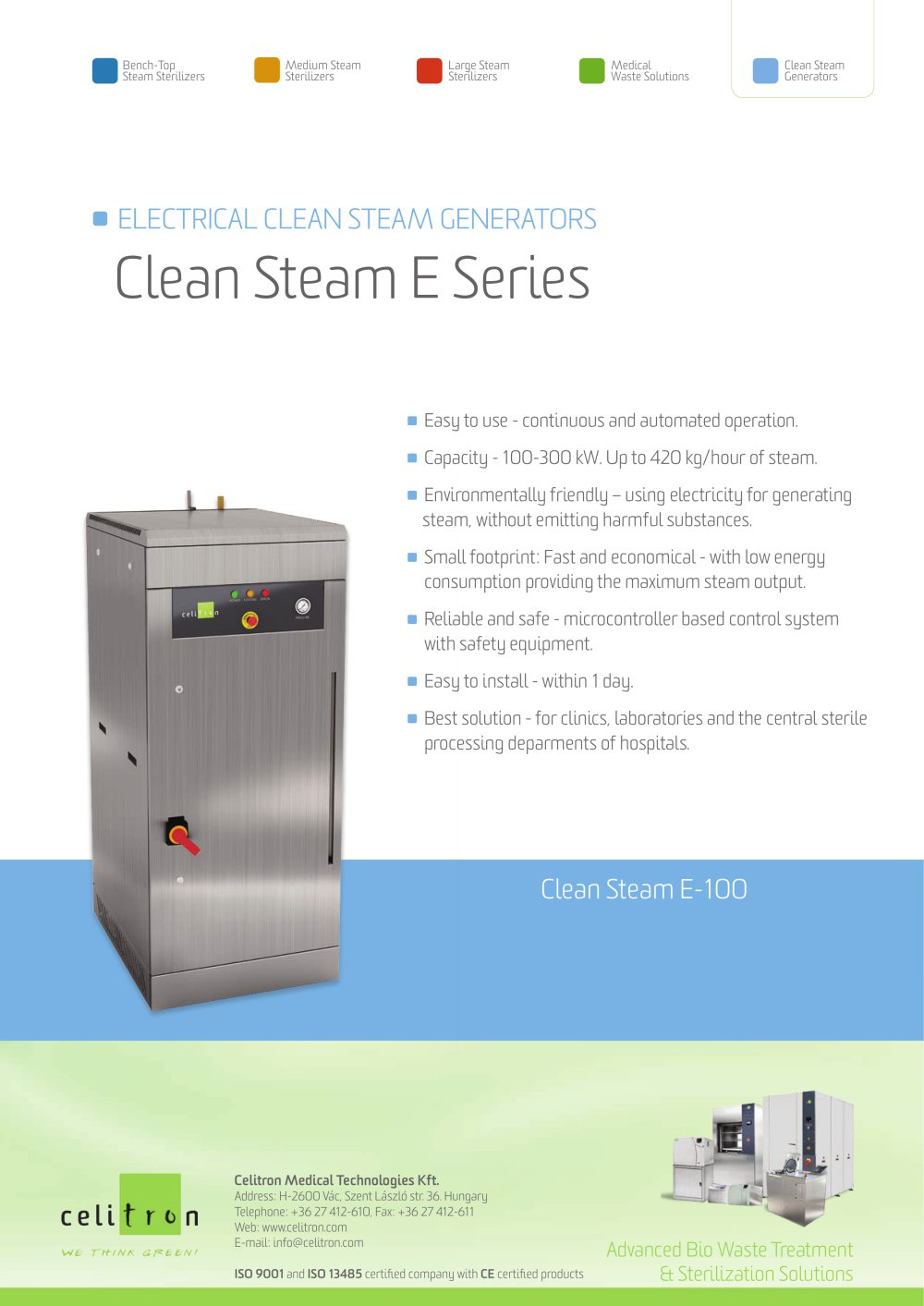 Electrical Clean Steam Generators Celitron Medical Technologies 1 2 Pages