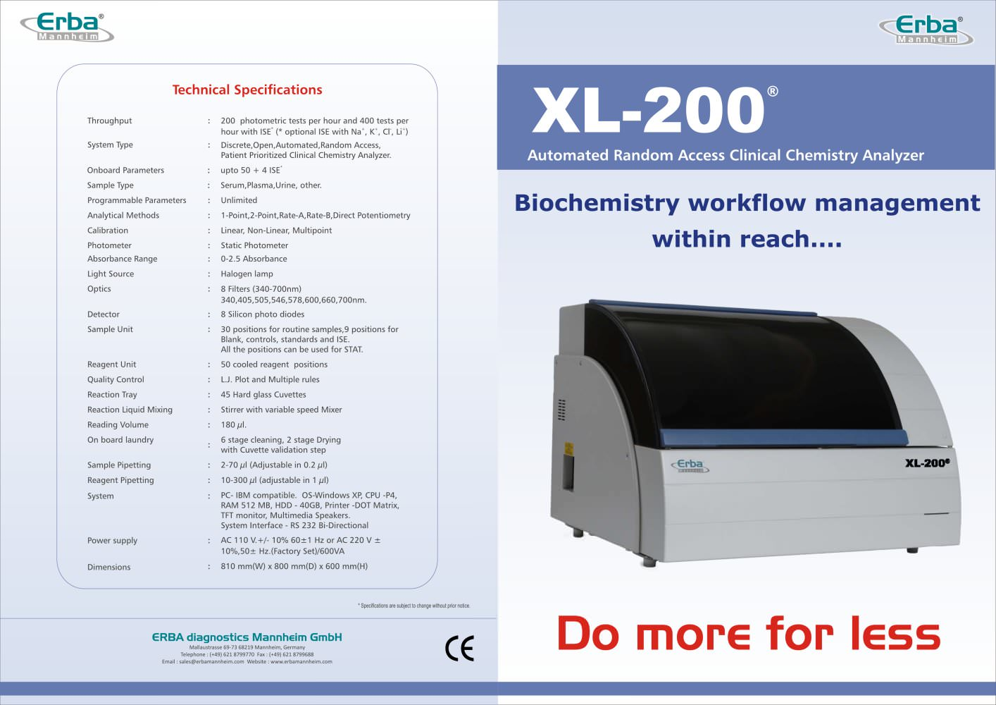 erba xl 200 erba diagnostics mannheim pdf catalogue technical rh pdf medicalexpo com