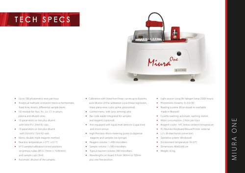 Miura one - Technical specs