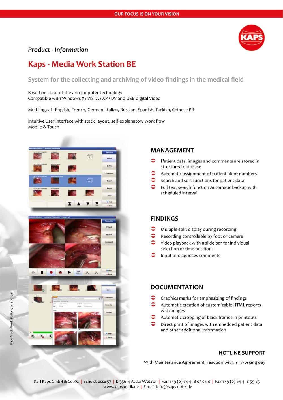 Kaps - Media Work Station BE - Karl Kaps - PDF Catalogue | Technical ...