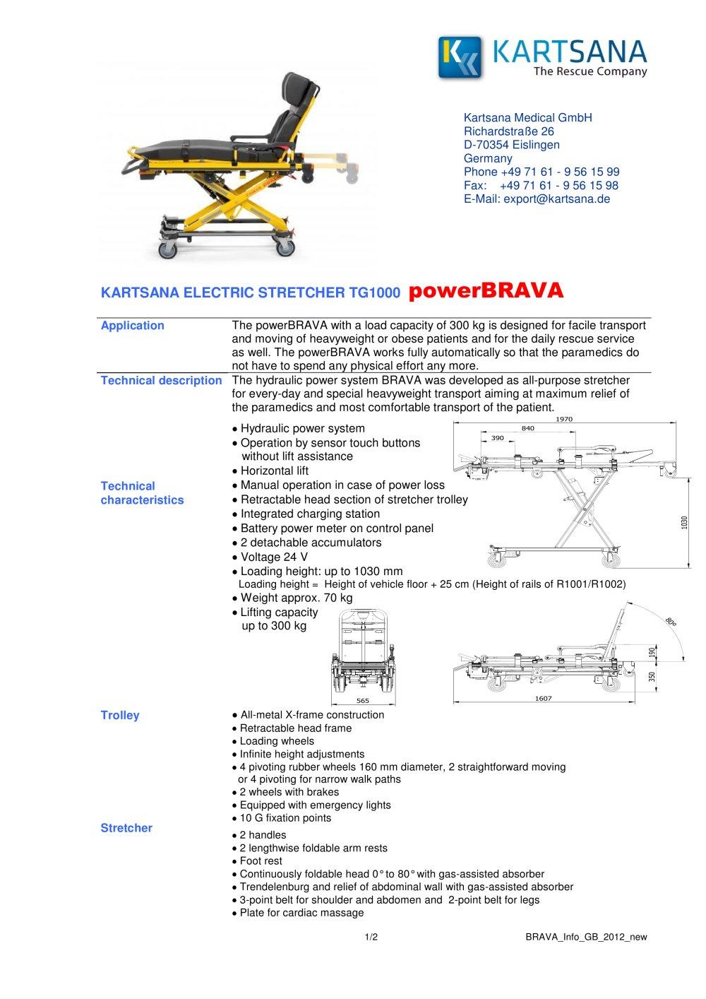 Powerbrava Kartsana Medical Pdf Catalogue Technical Documentation 24 Volt Hydraulic Lift Wiring Diagram 1 2 Pages