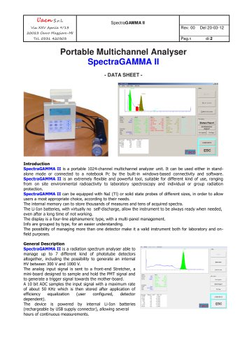 Portable Multichannel Analyser SpectraGAMMA II