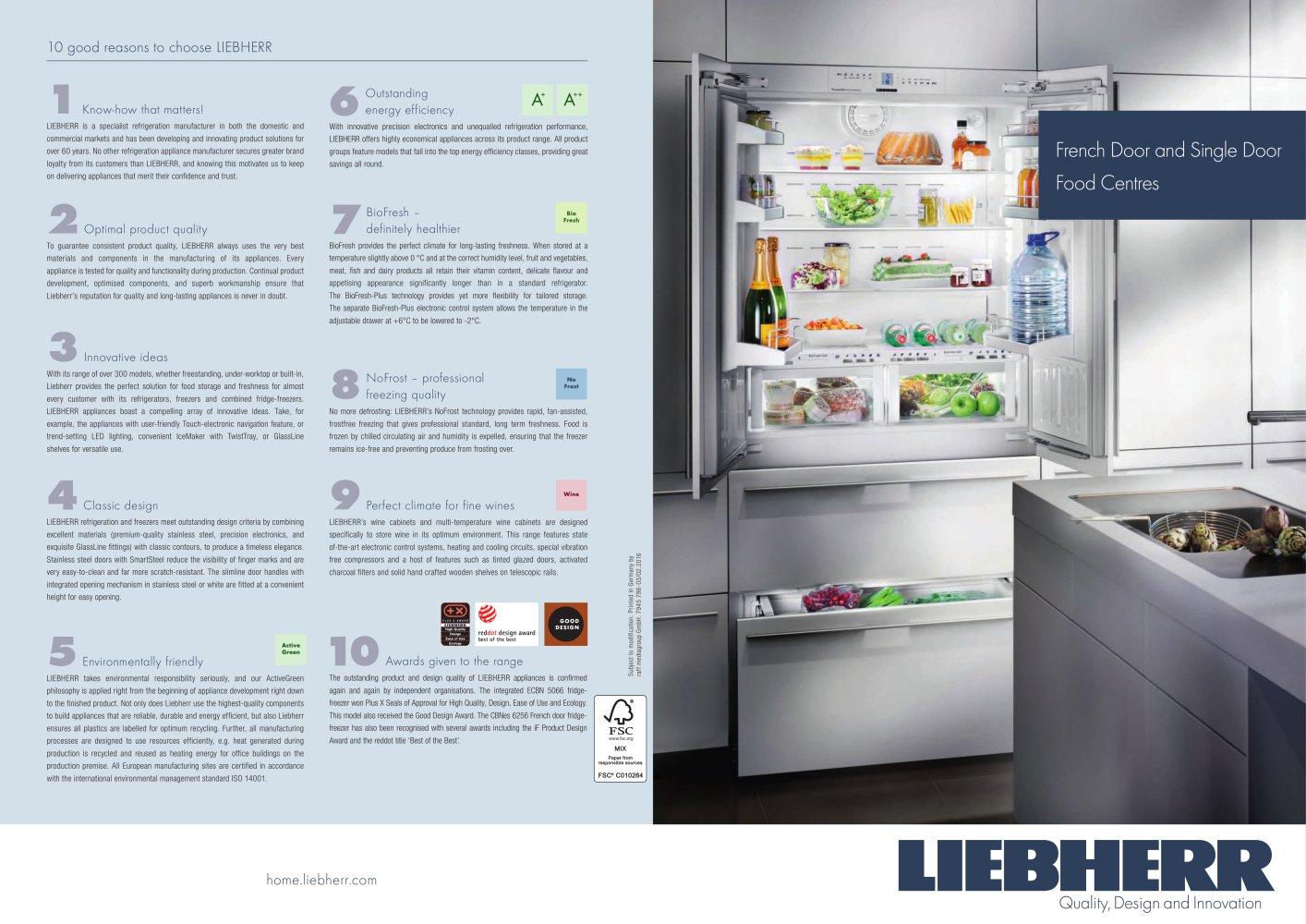 French Door And Single Door Food Centres Liebherr Pdf Catalogue
