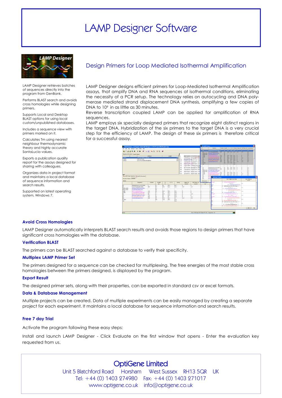 lamp designer flier optigene pdf catalogue technical documentation