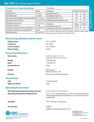 Specification Sheet QBC STAR